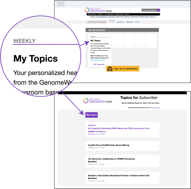 The my topics sign up location